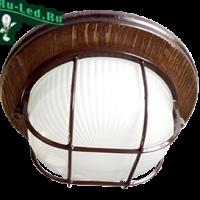 Ecola GX53 LED НБО-03-60-022 светильник Круг накладной IP65 дерево Орех 1*GX53 матовый с решеткой 220х84