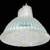 Ecola Light MR16   LED  5,0W 220V GU5.3 2800K прозрачное стекло (композит) 48x50