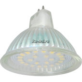 Ecola Light MR16   LED  5,0W 220V GU5.3 4200K прозрачное стекло (композит) 48x50
