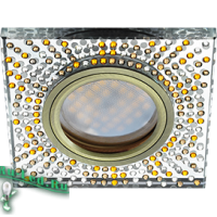 Ecola MR16 DL1658 GU5.3 Glass Стекло Квадрат с  прозр.-янтарной мозаикой/фон зерк../центр.часть черненая бронза 25x95x95