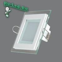 705SQ-6W-6000K Светильник встраиваемый,квадратный,со стеклом,LED,6W