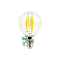Ecola globe   LED  5,0W G45 220V E14 2700K 360° filament прозр. нитевидный шар (Ra 80, 100 Lm/W) 78х45
